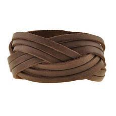 Кожаный браслет косичка темно-коричневый, фото 3
