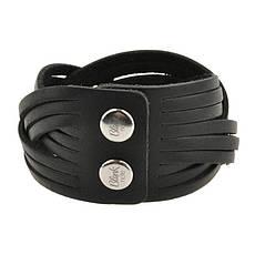 Кожаный браслет косичка черный, фото 3