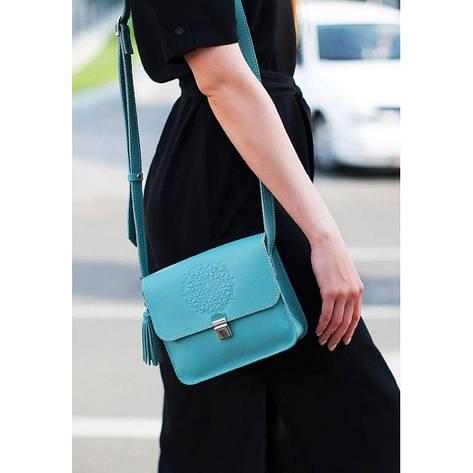 Кожаная женская бохо-сумка Лилу бирюзовая, фото 2