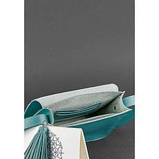 Кожаная женская бохо-сумка Лилу бирюзовая, фото 3