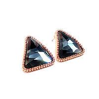 Серьги Треугольник с серым фианитом