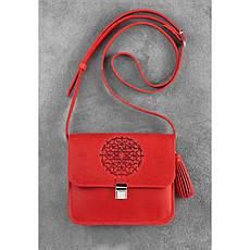 Кожаная женская бохо-сумка Лилу Коралловая, фото 2