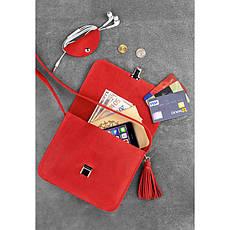 Кожаная женская бохо-сумка Лилу Коралловая, фото 3