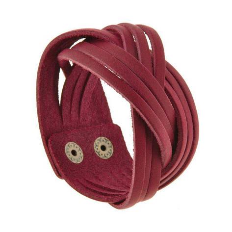 Женский кожаный браслет косичка бордовый, фото 2