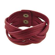 Женский кожаный браслет косичка бордовый, фото 3