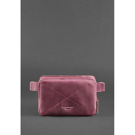 Кожаная женская поясная сумка Dropbag Mini Crazy Horse бордовая, фото 2