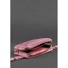 Кожаная женская поясная сумка Dropbag Mini Crazy Horse бордовая, фото 3
