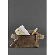 Кожаная поясная сумка Dropbag Mini темно-коричневая, фото 3