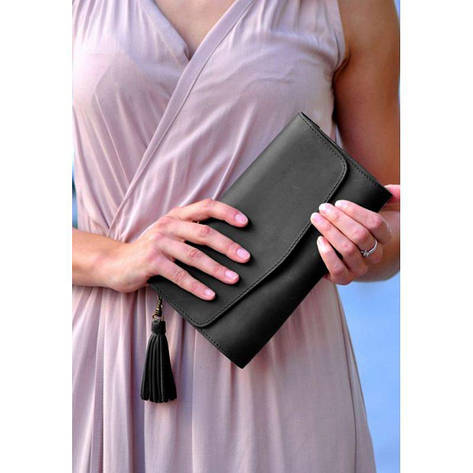 Кожаная женская сумка Элис черная, фото 2
