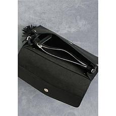 Кожаная женская сумка Элис черная, фото 3
