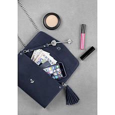 Кожаная женская сумка Элис синяя, фото 3