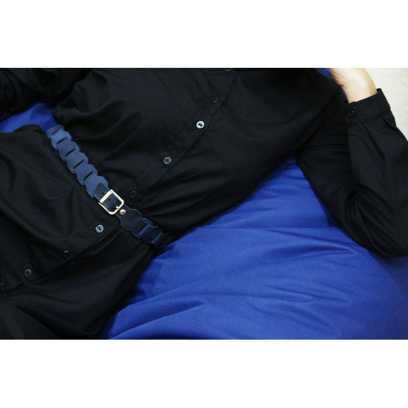 Женский кожаный бохо-ремень синий