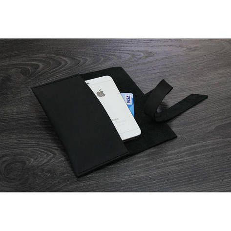 Кожаный чехол для смартфона черный, фото 2
