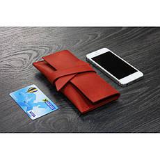 Женский кожаный чехол для смартфона коралловый, фото 2