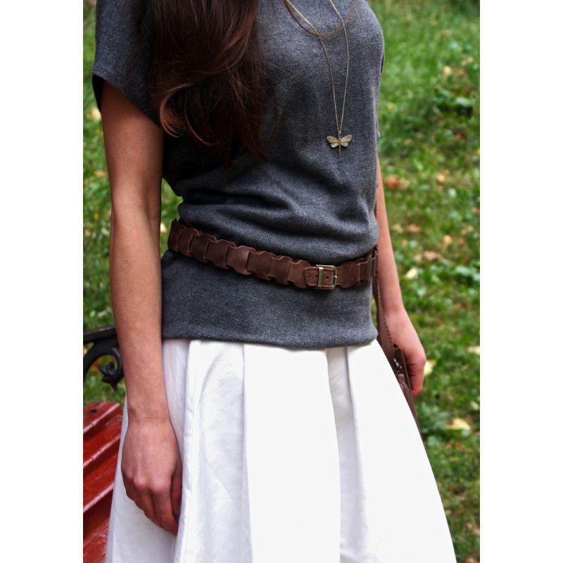 Женский кожаный бохо-ремень темно-коричневый