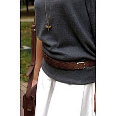 Женский кожаный бохо-ремень темно-коричневый, фото 2