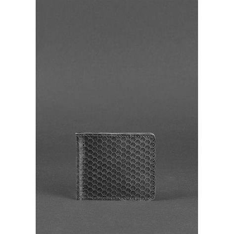 Мужское кожаное портмоне 1.0 зажим для денег черный Карбон, фото 2