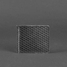 Мужское кожаное портмоне 1.0 зажим для денег черный Карбон, фото 3