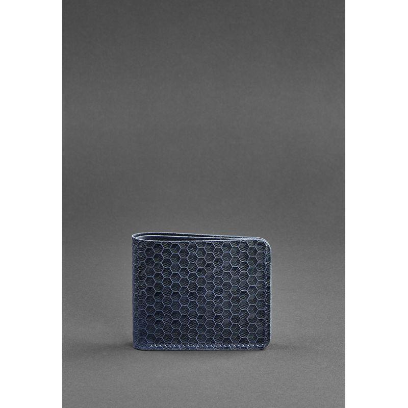 Мужское кожаное портмоне 4.1 (4 кармана) синее Карбон