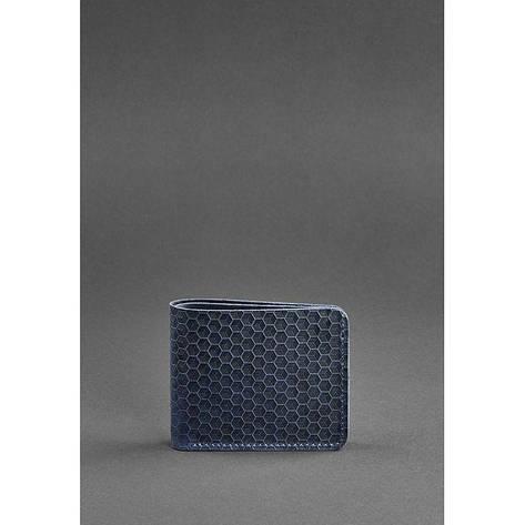 Мужское кожаное портмоне 4.1 (4 кармана) синее Карбон, фото 2