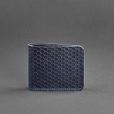 Мужское кожаное портмоне 4.1 (4 кармана) синее Карбон, фото 3