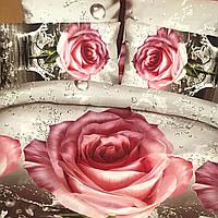 """Постельное белье 3D эффект евро размер """"роза"""" 200/230,нав-ки 70/70 """"розы"""""""