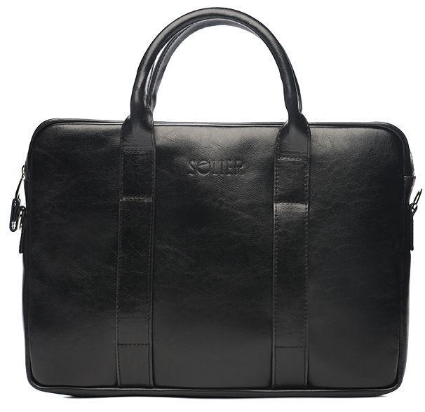 c593dd5fcdf1 Мужская сумка для ноутбука 15,4' Solier SL20 Black - SUPERSUMKA интернет  магазин в