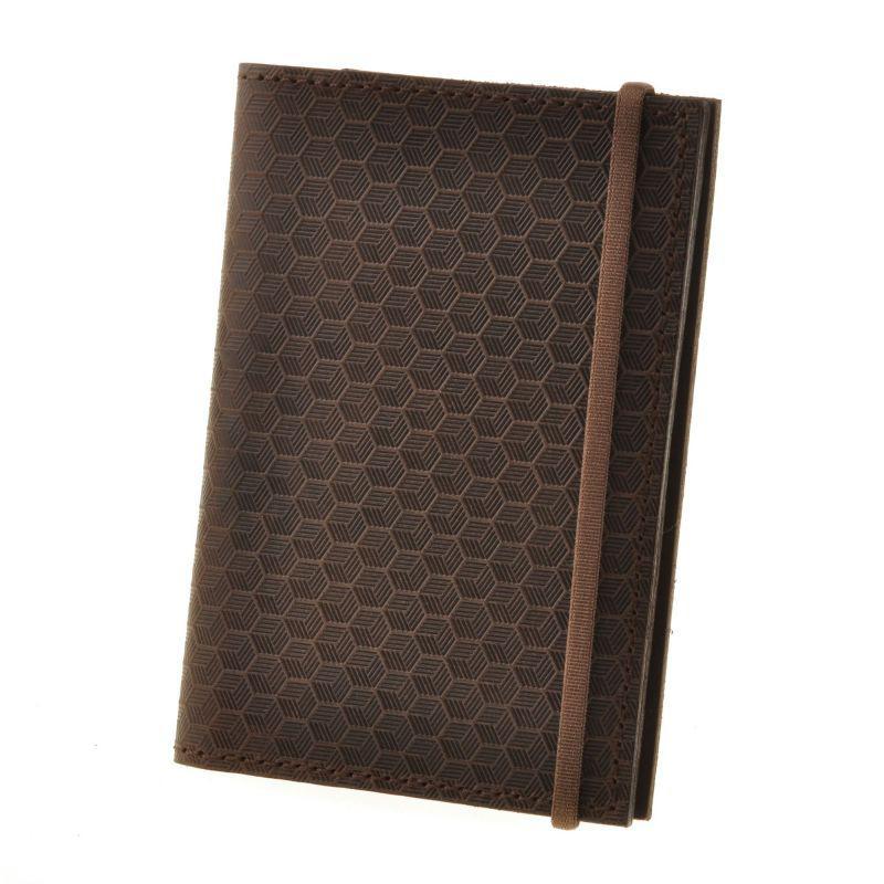 Кожаная обложка для паспорта 2.0 Карбон темно-коричневая