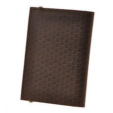 Кожаная обложка для паспорта 2.0 Карбон темно-коричневая, фото 3