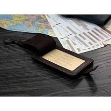 Кожаная бирка для багажа Бланк-тэг темно-коричневая Карбон, фото 2