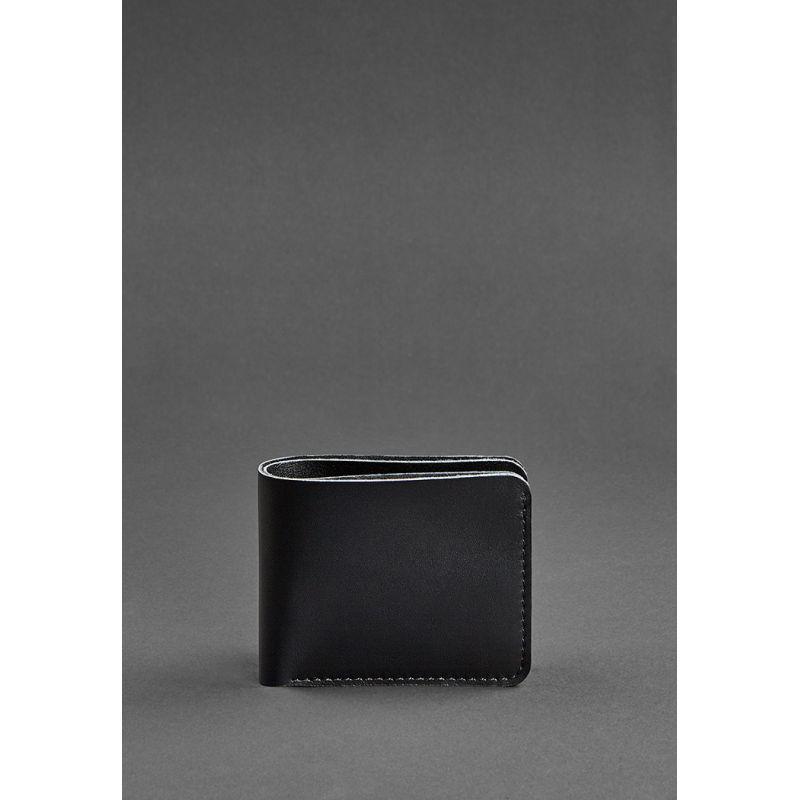 Мужское кожаное портмоне 4.1 (4 кармана) угольно-черное