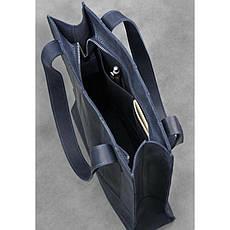 Кожаная женская сумка шоппер Бэтси синяя, фото 3