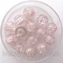 """Бусины """"Crackle"""" колотый лед 8 мм розово-персиковые (примерно 100-110 шт бусин)"""