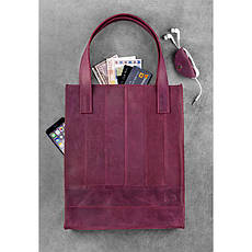 Кожаная женская сумка шоппер Бэтси бордовая, фото 3
