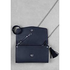 Женская кожаная сумка Элис синяя Велюр, фото 2