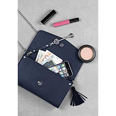 Женская кожаная сумка Элис синяя Велюр, фото 3