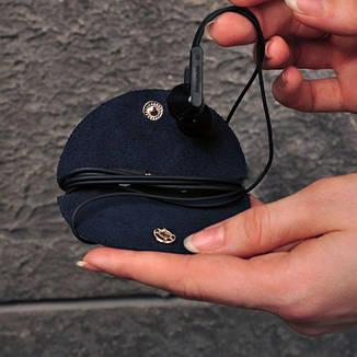 Кожаный холдер для наушников синий, фото 2
