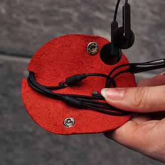 Женский кожаный холдер для наушников коралл, фото 2