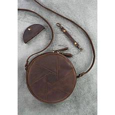 Кожаная круглая женская сумка Бон-Бон темно-коричневая, фото 3