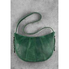 Кожаная женская сумка Круассан зеленая, фото 2