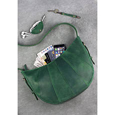 Кожаная женская сумка Круассан зеленая, фото 3