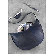 Кожаная женская сумка Круассан синяя, фото 3