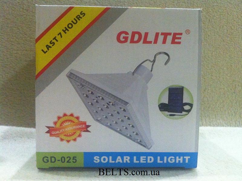 Туристическая лампа на аккумуляторе GD LIGHT GD-025 с солнечной панелью, аккумуляторный светильник GD-025