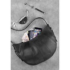 Кожаная женская сумка Круассан черная Crazy Horse, фото 3