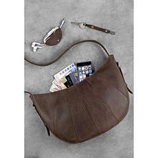 Кожаная женская сумка Круассан темно-коричневая, фото 3
