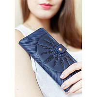 Кожаное женское синее портмоне 7.0 Инди