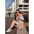 Кожаный женский рюкзак Олсен светло-бежевый, фото 2