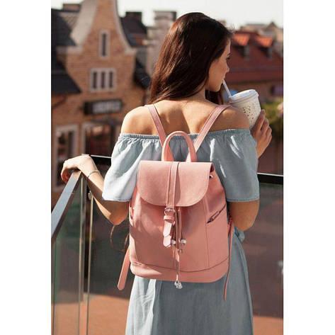 Кожаный женский рюкзак Олсен розовый, фото 2
