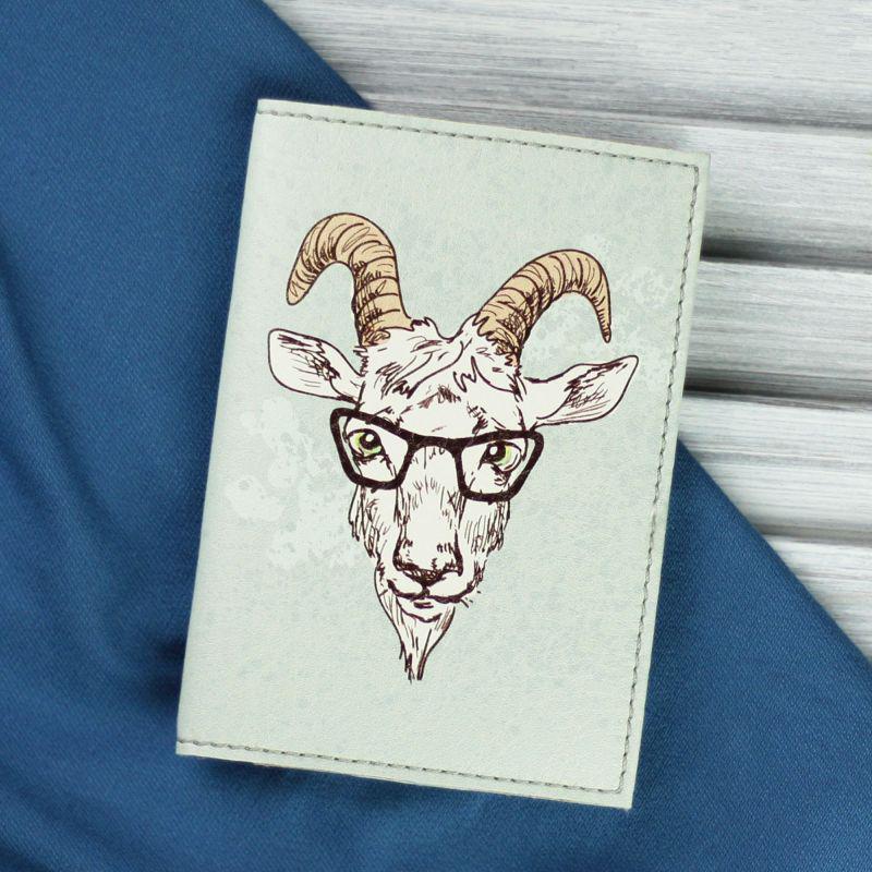 Обложка для паспорта Hipster goat + блокнотик