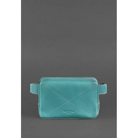 Кожаная женская поясная сумка Dropbag Mini бирюзовая, фото 2